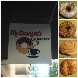 Mr. Donut's Vanilla Glazed with Sprinkles Maple Blazed with Peanuts Butter Roll Crossant