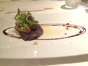 Foie Gras on Smashed Okinawan Potato, Balsamic Trails