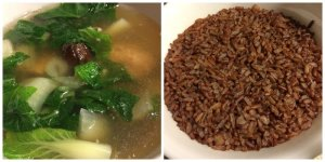 Pig Foot Soup with White Stemmed Cabbage Red Cargo Rice
