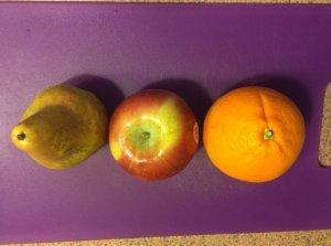 Pear, Apple, Orange