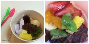 Frozen Yogurt Cup (The Cat's) Fruit Cup with Red Beans and Coffee Jelly (The Mouse's)
