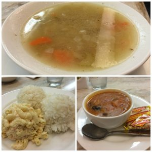 Turkey Vegetable Soup Added Rice and Mac Salad Meal Portuguese Bean Soup
