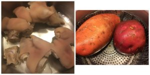 Pig Feet Soup (in progress) Steamed Sweet Potato