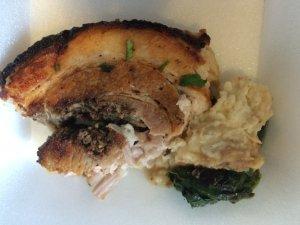 Pork Roast with Pesto Stuffing Mashed Potato Sauteed Spinach