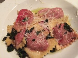 Potato and Beet Ravioli, Beet Greens in Browned Butter, Parmesan Cheese