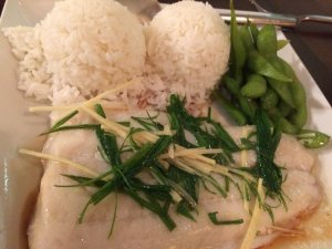 Steamed Fish with Ginger and Onions Plate