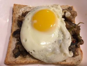 Open-Faced Spicy Eggplant with Fried Egg