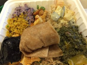 Brown Rice with Tofu Curry, Okinawan Sweet Potato, Quinoa Curry Salad, Luau Spinach, Etc.