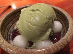 Azuki Beans with Mochi Balls and Green Tea Ice Cream