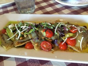 Molokai Sweet Potato Ravioli w/ sage brown butter, tomato, asparagus, mac nuts, microgreens, pecorino