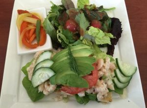 Open-Faced Shrimp Salad Sandwich Herb Focaccia, Avocado, Tomato, Cucumber