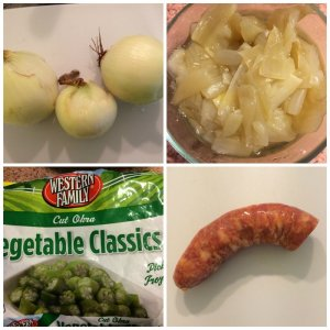 Onions, Cooked to almost only essence, Frozen Okra, Portuguese Sausage