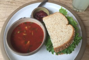 Half Turkey Sandwich with Tomato Gazpacho Soup