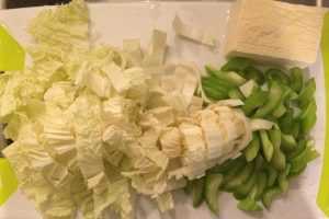 Celery, Frozen Tofu, Napa Cabbage
