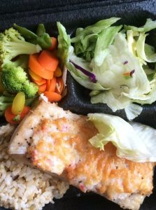 Fish, Brown Rice, Steamed Vegetables, Toss Salad
