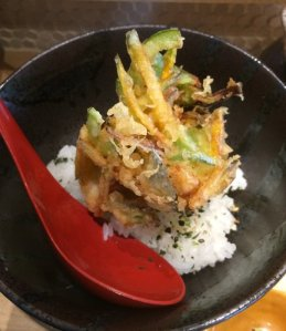 Mini Kakiage Chazuke: scallop, kabocha, and bell pepper fritter (tempura) on rice with broth