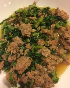 Sautéed Turnip Greens and Ground Pork