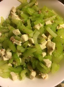 Celery, Tofu, Ground Pork Stir Fry