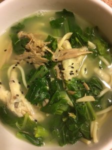 Turkey Neck and Chicken Feet Noodle Soup with Turnip Greens and Choi Sum