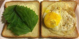 Fried Egg Sandwich seasoned with 21 Seasoning Salute on Hokkaido Bread with Shiso