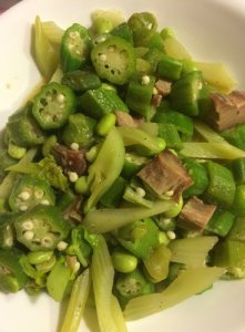 Sautéed Okra, Celery, and Soy Beans with Smoked Aku