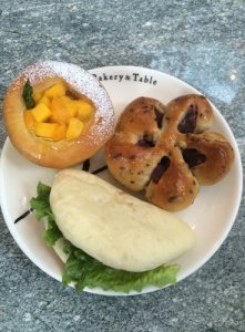 Mango Tart, Sweet Potato Bun, Pork Belly Bun