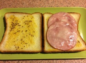 Whole Grain Mustard and Canadian Bacon Slices