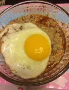 "Pastele Stew and Ancient Grains ""Loco Moco"""