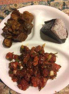 Shiso Ume Musubi, Ahi Limu Poke, and Mahogany Pork