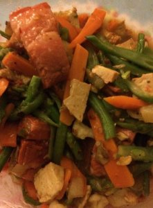 Frozen Stir-Fry Veggies with Leftover Kau Yuk and Spicy Tofu