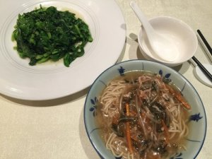 Noodles and Pea Shoots