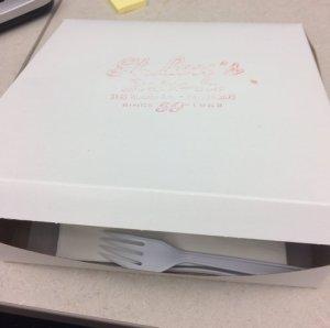 "Still served in cardboard ""pie"" box"