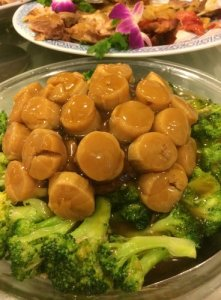 """Dried Scallops with Brocolli and """"Hair"""" Seaweed"""