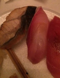 Unagi, Hamachi, and Tuna Nigiri