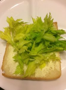 Celery Tops on Buttered Bread
