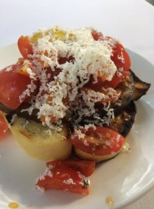 Eggplant and Tomato Bruschetta
