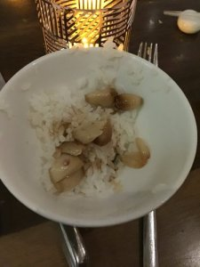 Steamed Rice with Roasted Garlic and Shoyu
