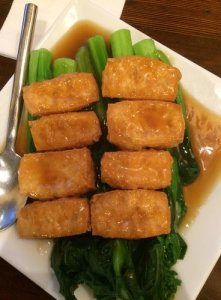 Fried Tofu and Choi Sum