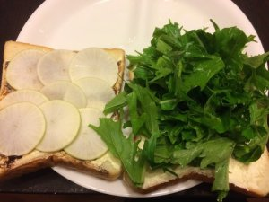 Mizuna and Turnip Sandwich with Vegemite