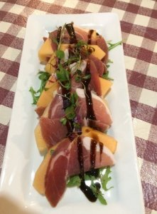 Prosciutto Wrapped Melon w/ Honey Balsamic Glaze