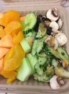 Fruits, Mushrooms, Cucumber Salad