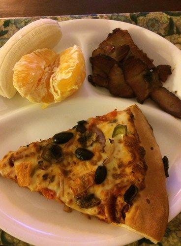 Banana, Orange, Smoked Pork, Veggie Pizza