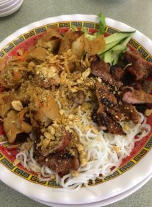 Vermicelli, vegetables, Spring Roll, BBQ Pork